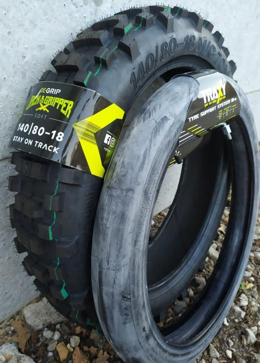 X-Grip JACK the GRIPPER 140/80-18 Soft + Traxy Tyre Support Reifensystem