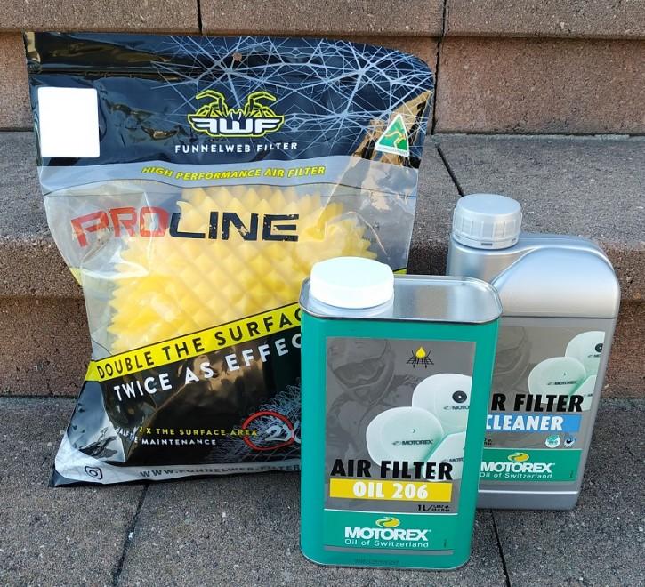 FunnelWeb Komplett Set: Proline Luftfilter + Motorex Luftfilteröl + Luftfilterreiniger